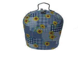 Teewärmer mit Verschluss: gelbe Blumen auf blau Muster