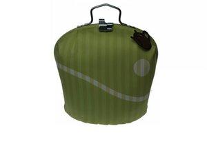 Teewärmer mit Verschluss: Grün-Weiss Muster
