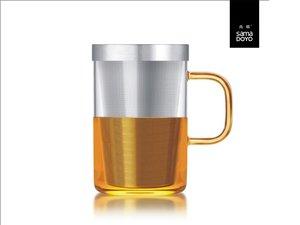 Samadoyo grosses Glas mit Feinfilter für losen Tee. Gelber Griff.