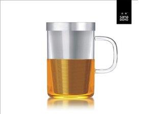 Samadoyo grosses Glas mit Feinfilter für losen Tee. Mit transparantem Griff.