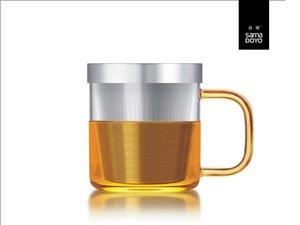 Samadoyo Glas mit Feinfilter für losen Tee. Gelber Griff.