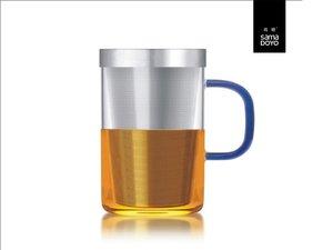 Samadoyo grosses Glas mit Feinfilter für losen Tee. Blau Griff.