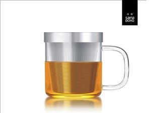Samadoyo Glas mit Feinfilter für losen Tee. Mit glass Griff.