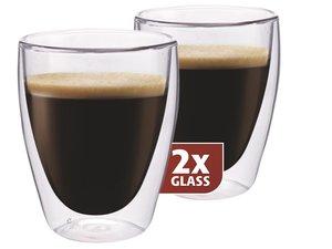 Thermo-Glas Set von zwei: Kaffee 235 ml.