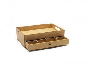 Teebox Bambus mit Tablett und flexiblem Layout