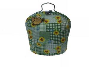 Teewärmer mit Verschluss: gelbe Blumen auf grün Muster