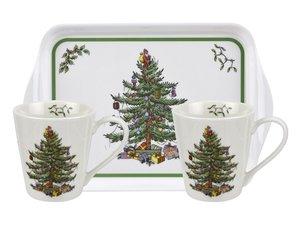 Spode - Weihnachtsbaum Becher und Tablett Set
