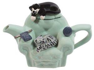 Katze Stuhl Grün Teekanne für eine Tasse