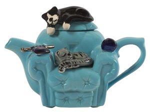 Katze Stuhl Blau Teekanne für eine Tasse