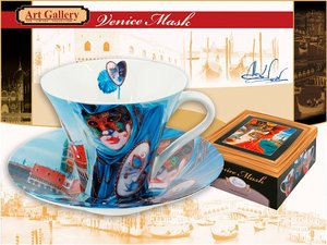 Carmani Tasse & Untertasse - Alex Levin Venetian Mask Blue