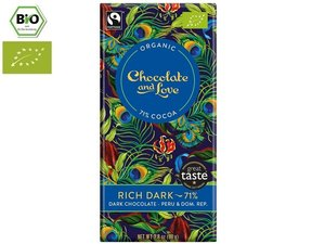 Chocolate and Love Organic Rich Dark 71% Chocolate 80 gram CH-BIO-006