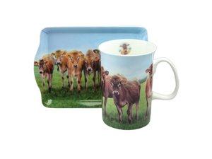 Ashdene Jersey Kuh Becher und Tablett