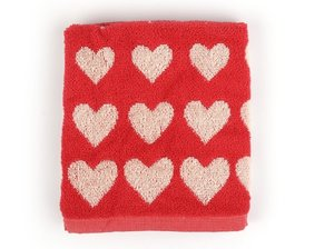 Bunzlau Handtuch Hearts Red