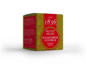 Früchtetee-Mischung - Rhabarber Schorle 15 Piramiden-Teebeutel (je 60 Gramm)