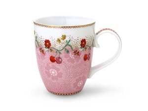 Pip Studio Becher Large Floral Cherry Rosa