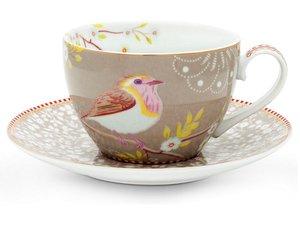 Pip Studio Cappuccino Tassen und Untertasse Early Bird Rosa