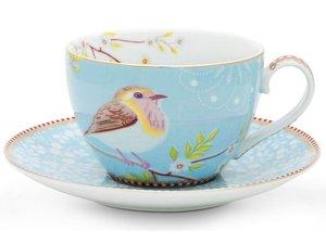 Pip Studio Cappuccino Tassen und Untertasse Early Bird Blau