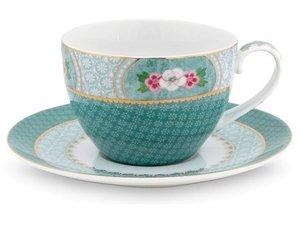 Pip Studio Cappuccino Tassen und Untertasse Blushing Birds Blau