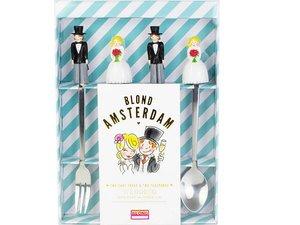 Blond Amsterdam 2 Kuchengabel und 2 Teelöffel Wedding Set