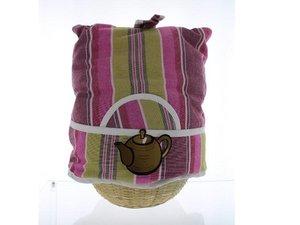 Teewärmer mit Korb: Markiese Streifen Muster