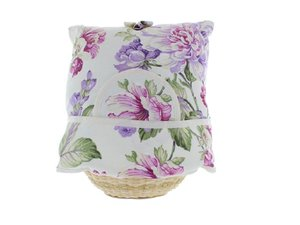 Teewärmer mit Korb: lila Blumen Muster