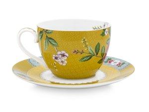 Pip Studio Cappuccino Tassen und Untertasse Blushing Birds Gelb