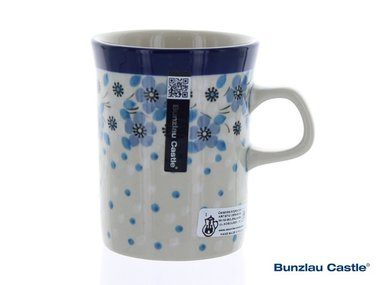 Bunzlau Becher Gerade 250 ml Blue White Love