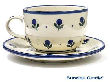 Bunzlau Cup and Saucer Blue Berry 0,25 Liter