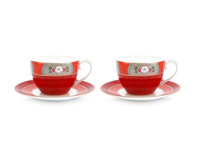 Pip Studio Cappuccino Tassen und Untertasse Blushing Birds Rot
